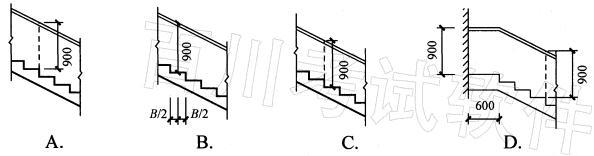 室内楼梯靠楼梯井一侧的扶手高度,下列图示中哪一项正确?